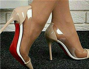 Sapato Scarpin Cristal Nude Salto 10cm