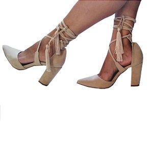 Sapato Scarpin Salto Grosso Nude