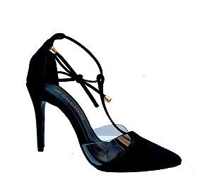 Sapato Feminino Scarpin Preto Laccio on