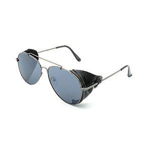 Óculos Solar Prorider Retrô Detalhado Prata com Lente Fumê - DO82198D7