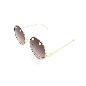 Óculos Solar Prorider Retrô Dourado Com Lente Degradê Marrom - T3026C8