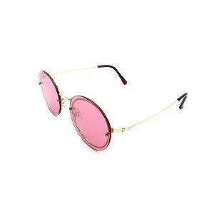 Óculos Solar Prorider Retrô Dourado Com Lente Fumê Rosa - B88-406