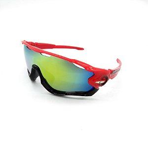 Óculos de Sol Prorider Esportivo Vermelho e Preto com Lente fumê - 9270