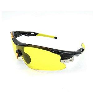 Óculos de Sol Prorider Esportivo Preto e Amarelo com Lente fumê - 9209