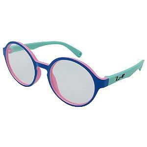 Óculos Para Grau Infantil ZJim Silicone Redondo Azul e Verde