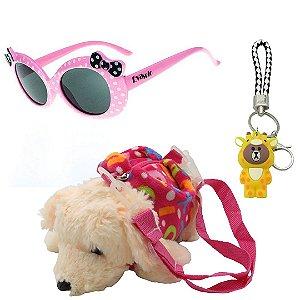 Kit Infantil Óculos de Sol Evasolo Rosa Com Mochila e Chaveiro