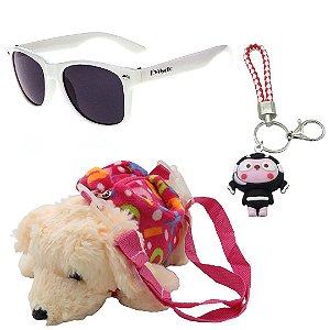 Kit Infantil Óculos de Sol EvaSolo Branco Com Mochila e Chaveiro