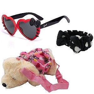 Kit Infantil Óculos de Sol Zjim Preto e Vermelho Com Mochila e Laço