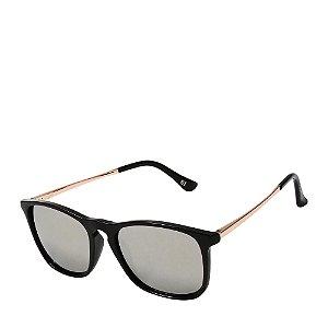 Óculos de Sol Prorider Preto e Dourado com Lente Espelhada Prata - XT24KACJZ