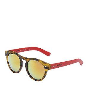 Óculos Solar Otto Redondo Tartaruga com Vermelho
