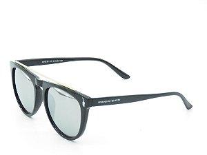 Óculos de Sol Prorider Preto Fosco com Lente Espelhada Prata - 3903