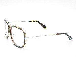 Óculos para Grau Prorider Prata com Detalhe em Animal Print - 5214