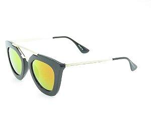 Óculos Solar Prorider Preto Fosco com Dourado e Lente Espelhada Colors - HP3276