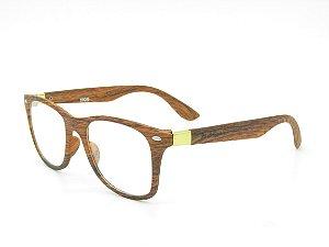 Óculos de grau Paul Ryan Marrom com detalhe amadeirado 1109-1