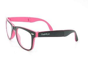 Óculos para Grau Paul Ryan Preto e Rosa Fosco - D8501-1