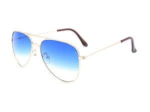 Óculos solar Prorider aviador dourado com lente degradê azul e branco VALENTE