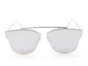 Óculos Solar Paul Ryan Prata com lente Espelhada Rosa - KAYAKAN
