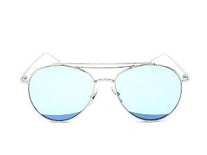 Óculos Solar Paul Ryan Prata com Lente Azul - KEVIN
