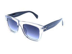 Óculos solar Bad Rose cinza translúcido com haste preta
