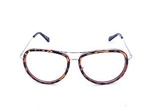 Óculos de grau Evasolo 13113 Animal print com prata