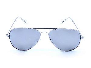 Óculos Solar Prorider Aviador Prata com Lente Espelhada Prata - ANTIGUA