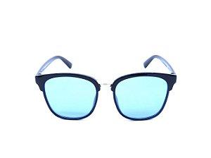 Óculos de Sol Prorider Preto com Detalhe Dourado e Lente Azul - CJ6110-C5