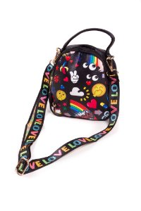 Bolsa Bad Rose Teen Bag Prata Estampado Colorido