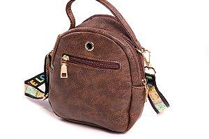 Bolsa Bad Rose Teen Bag Marrom com Estampado Colorido