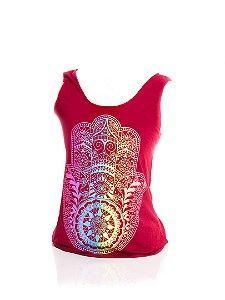 Regatinha Fitness Adulta Basic Bad Rose vermelho escuro com estampa mandala colorida
