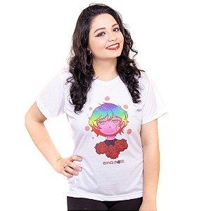 Camiseta Bad Rose Branca estampa Autoral Nanami Nem - SIH