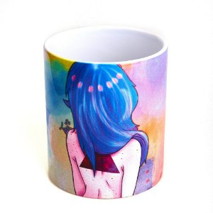 Caneca Bad Rose Personagem Autoral - BR1659 - Blue Pink