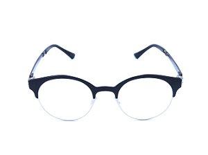 Óculos Grau Prorider Preto Fosco com Prata e Haste Marrom - G9101