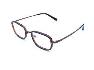Óculos Receituário Polo Walker em Animal Print com Haste Marrom - H0052C10B