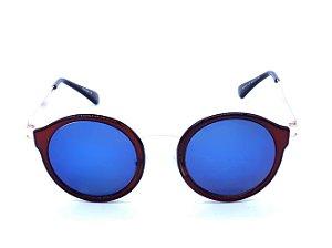 Óculos de Sol Marrom e Dourado com Lente Espelhada Azul - H01471C5