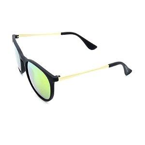 Óculos Solar Preto Fosco e Dourado com Lente Espelhada Colors - 25236
