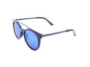 Óculos de Sol OTTO - Preto e Grafite com Lente Espelhada Azul - LM9271-C2