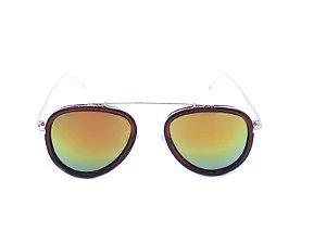 Óculos Solar Prorider Marrom e Dourado com Lente Espelhada Colors - RM0275