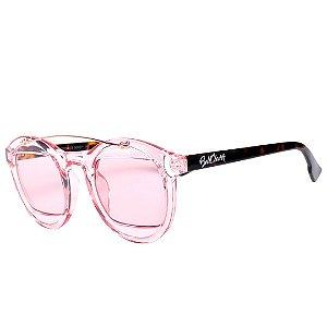 Óculos de Sol Bell Clover Rosa Translúcido com Animal Print