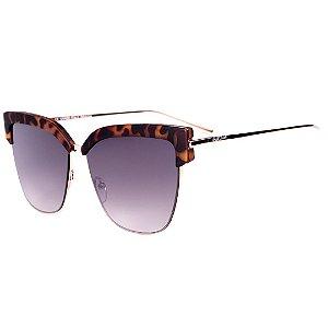Óculos de Sol Feminino BellClover em Animal Print Fosco com Dourado