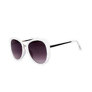 Óculos de Sol Feminino Bell Clover Branco com Dourado