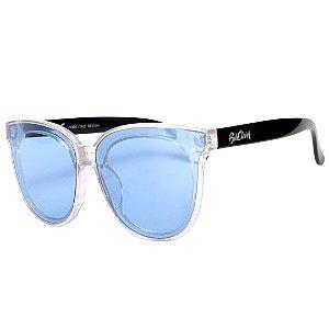 Óculos de Sol Bell Clover Translúcido com Haste em Preto e Lente Azul