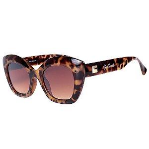 Óculos de Sol Feminino Bell Clover Animal Print com Detalhe Dourado