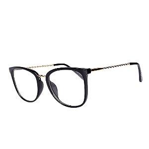Óculos de Grau Feminino BellClover Preto e Dourado