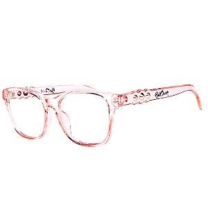 Óculos de Grau Feminino Bell Clover Rosa Translúcido com Detalhe Dourado