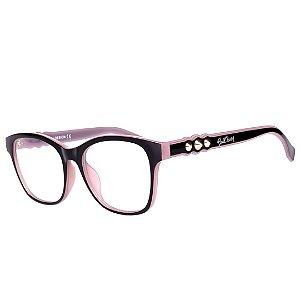 Óculos de Grau Feminino Bell Clover Preto com Lilás Translúcido
