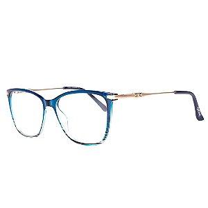 Óculos de Grau Feminino BellClover Azul Translúcido com Detalhe Listrado