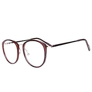Óculos de Grau Feminino Bell Clover Marrom Translúcido com Dourado