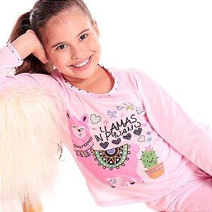 Pijama Conjunto Rosa Lhamas