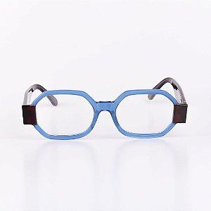 Óculos Receituário Robert La Roche Azul Fosco com Haste Marrom - RROCRCA103