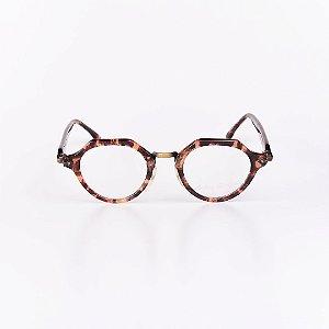 Óculos Receituário Robert La Roche Mescla Translúcida com Dourado e Preto - RROCRCA126